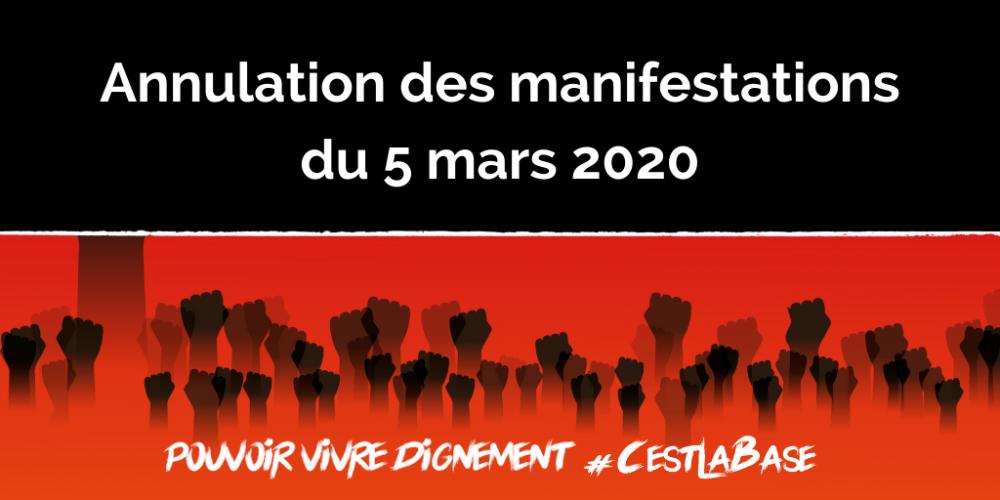 Annulation des manifestations du 5 mars 2020